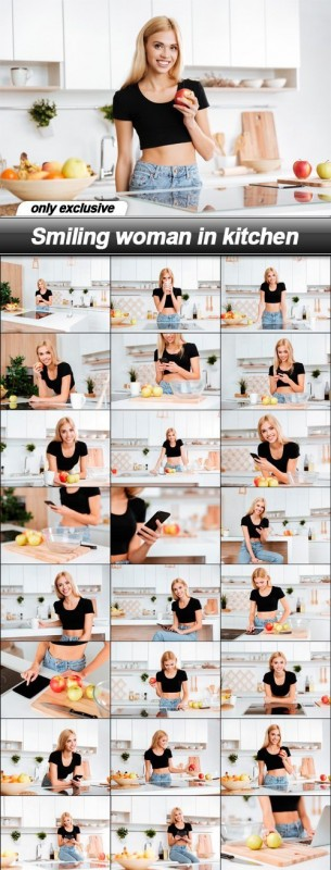 Smiling woman in kitchen - 27 UHQ JPEG