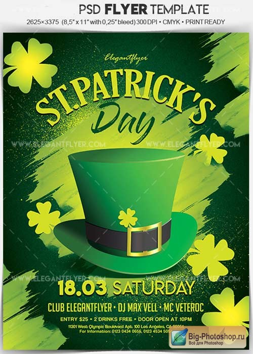 St. Patrick's Day V1 2018 Flyer PSD Template + Facebook Cover