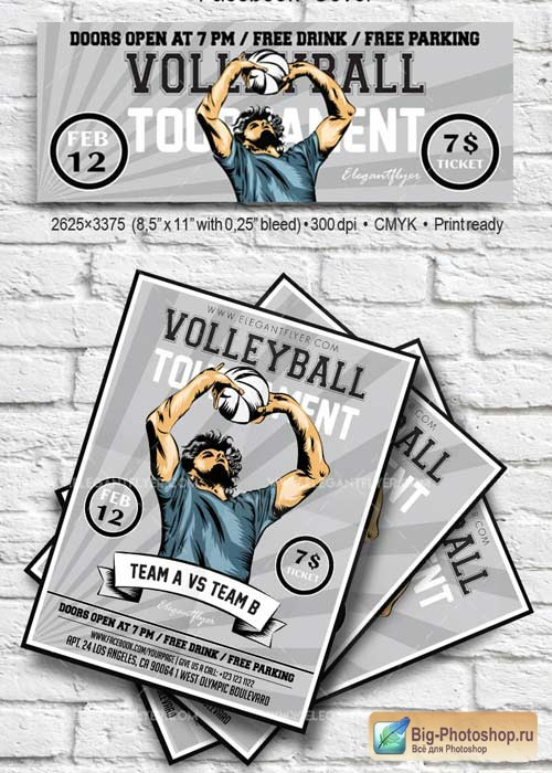 Volleyball V2 2018 Flyer PSD Template + Facebook Cover