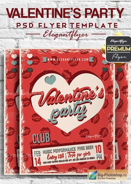 Valentine's Party V28 2018 Flyer PSD Template + Facebook Cover
