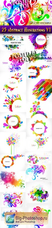 25 abstract illustrations V1 - Stock Vector