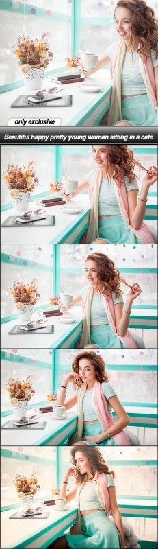 Beautiful happy pretty young woman sitting in a cafe - 6 UHQ JPEG