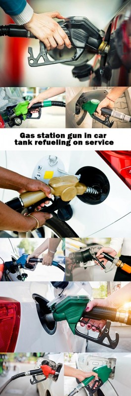 Gas station gun in car tank refueling on service