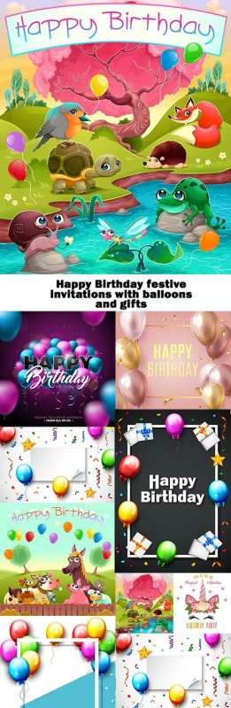 Happy Birthday festive invitations with balloons and gifts