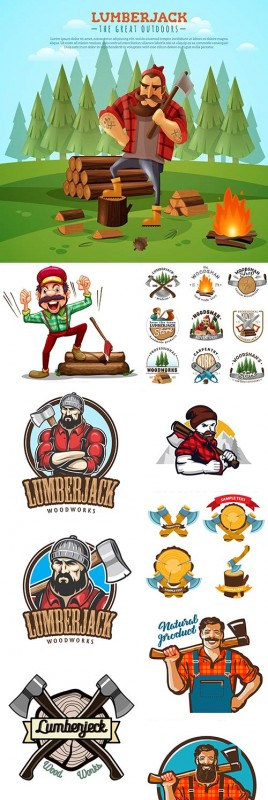 Lumberjack vintage comics emblem and label illustration