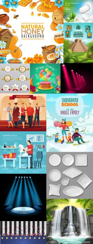 Modern big collection illustrations and elements design 21