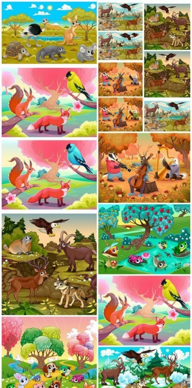 Set of funny wild animals in the nature #2 12X EPS