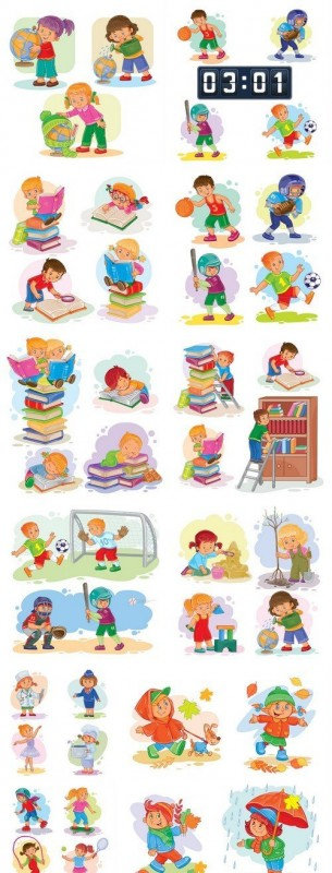 Set of vector icons of small children 11X EPS