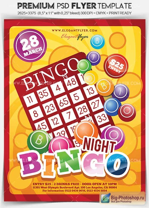 Bingo Night V5 2018 Flyer PSD Template + Facebook Cover