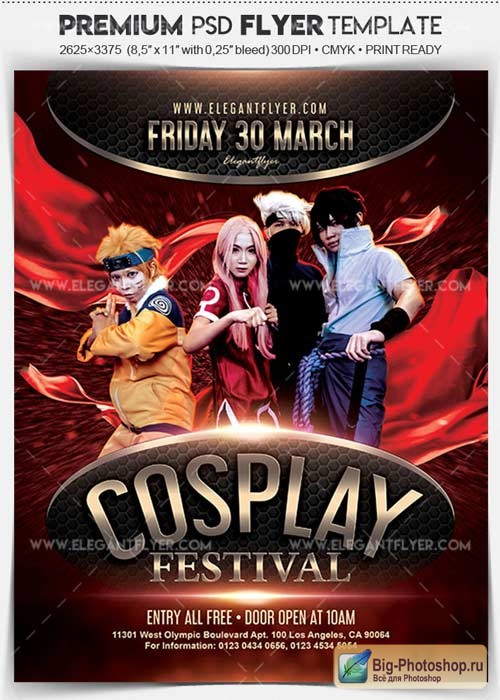 Cosplay Festival V2 2018 Flyer PSD Template + Facebook Cover