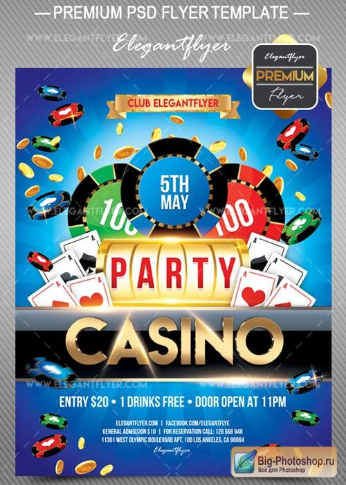 Casino V7 2018 Flyer PSD Template + Facebook Cover