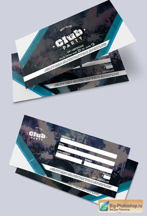 Club Party V4 2018 Gift Certificate PSD Template