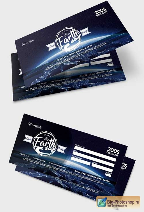 Earth Day V1 2018 Premium Gift Certificate PSD Template