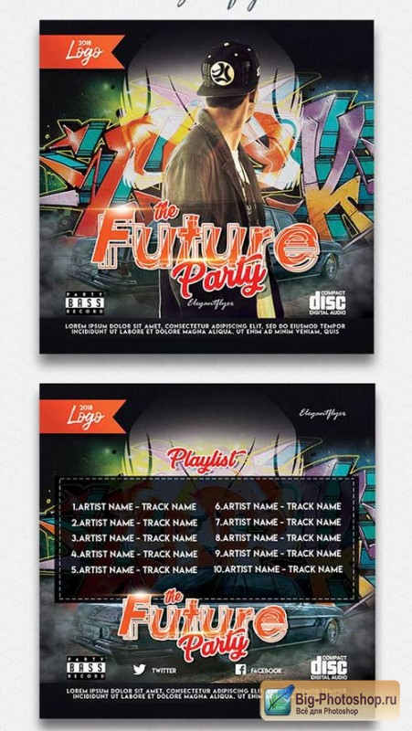 The Future Party V1 2018 CD Cover PSD Template