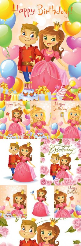 Happy Birthday princess invitation flowers and spheres