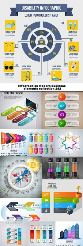 Infographics modern Business elements collection 282