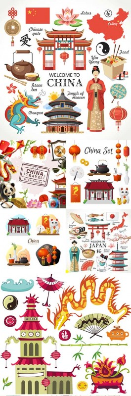 Japan and China cultural sights traditions and attributes