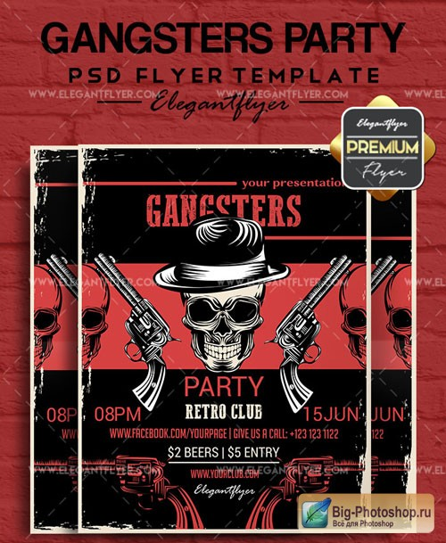 Gangster Party V3 2018 Flyer PSD Template