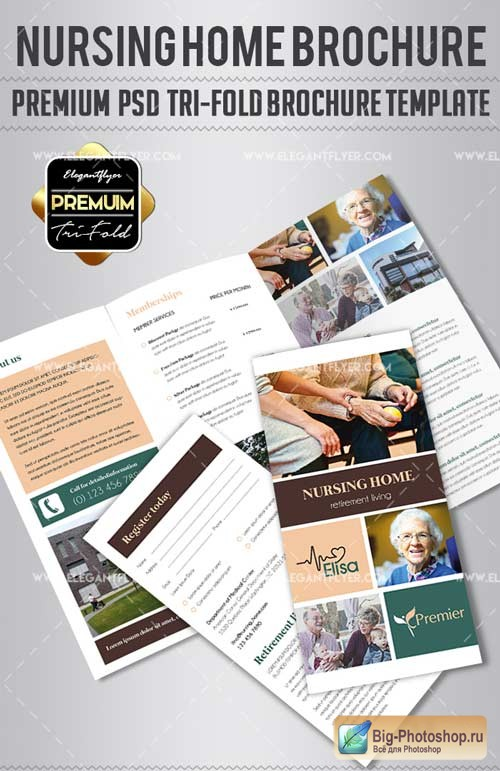 Nursing Home V1 2018 Tri-Fold Brochure PSD Template