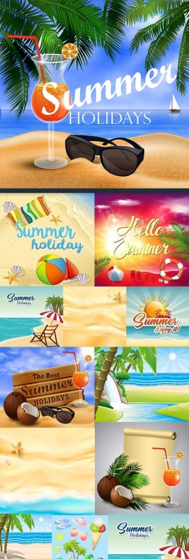 Summer holiday and vacation collection elements design 8