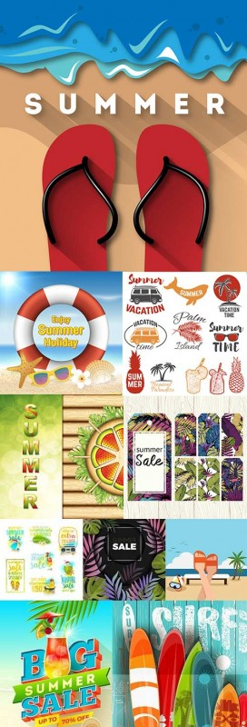 Summer holiday by sea and tropical beach emblem design