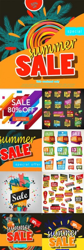 Summer sale special discount fashion poster element
