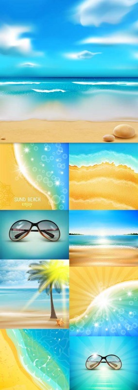 Summer sandy beach of blue sky and sunglasses