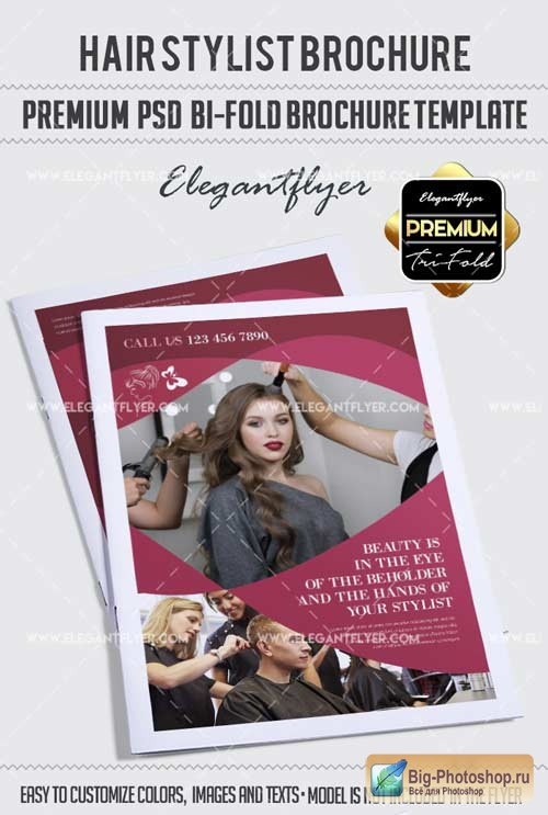 Hair Stylist V1 2018 Bi-Fold Brochure PSD Template