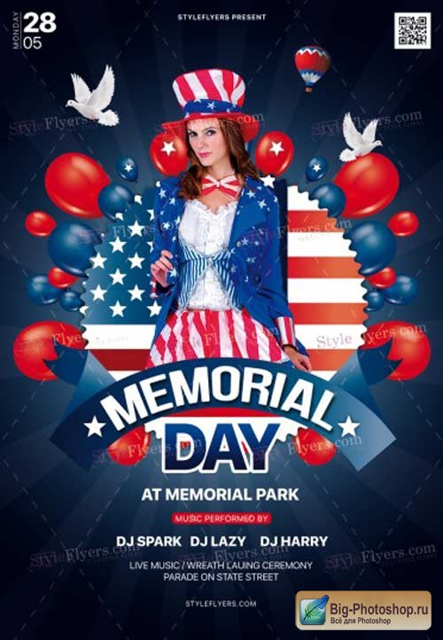 Memorial Day V25 2018 PSD Flyer Template