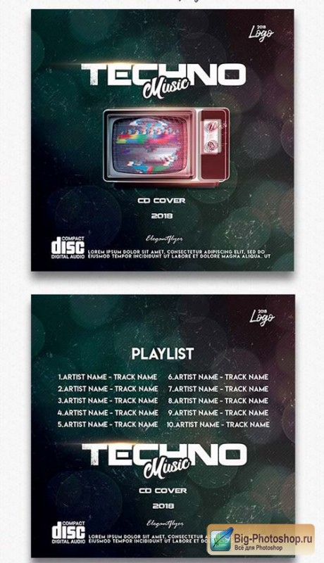 Techno Music V1 2018 СD Cover Template