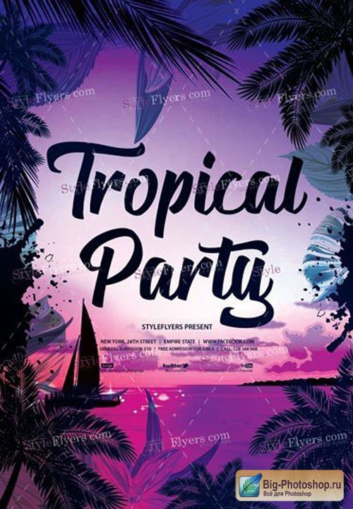 Tropical Party V5 2018 PSD Flyer Template