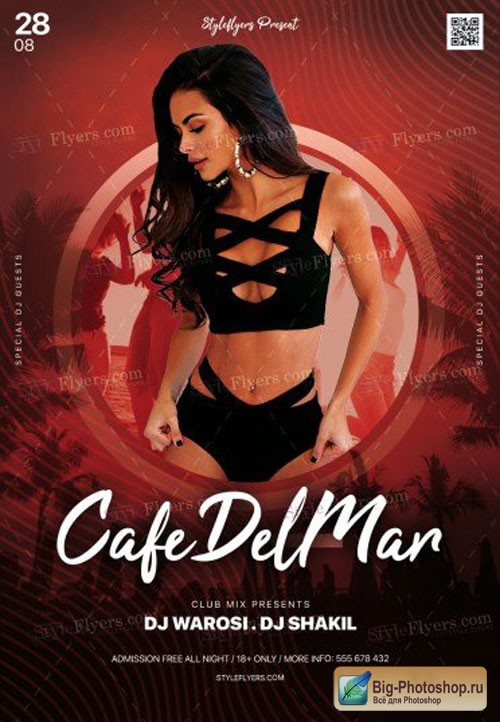 Cafe Del Mar Party V1 2018 PSD Flyer Template