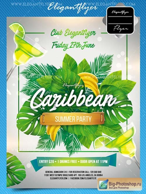 Caribbean Party V2 2018 Flyer PSD Template