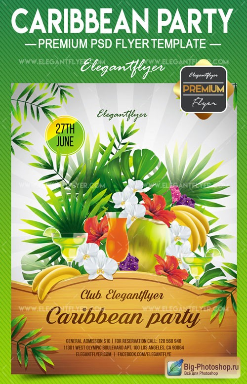 Caribbean Party V1 2018 Flyer PSD Template