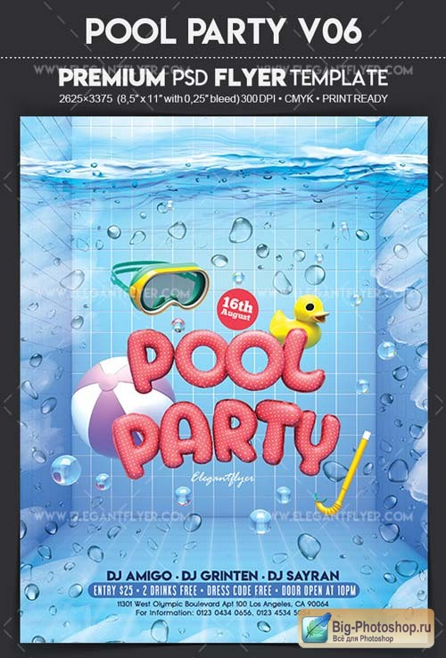 Pool Party V06 2018 Flyer PSD Template