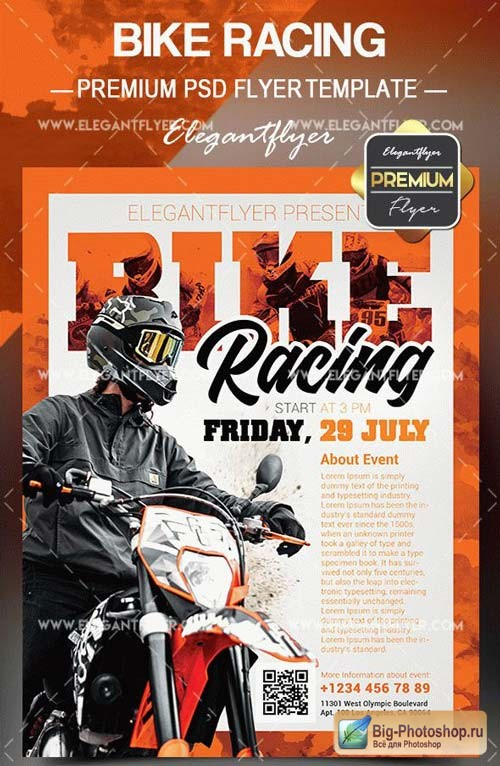 Bike Racing V1 2018 Flyer PSD Template