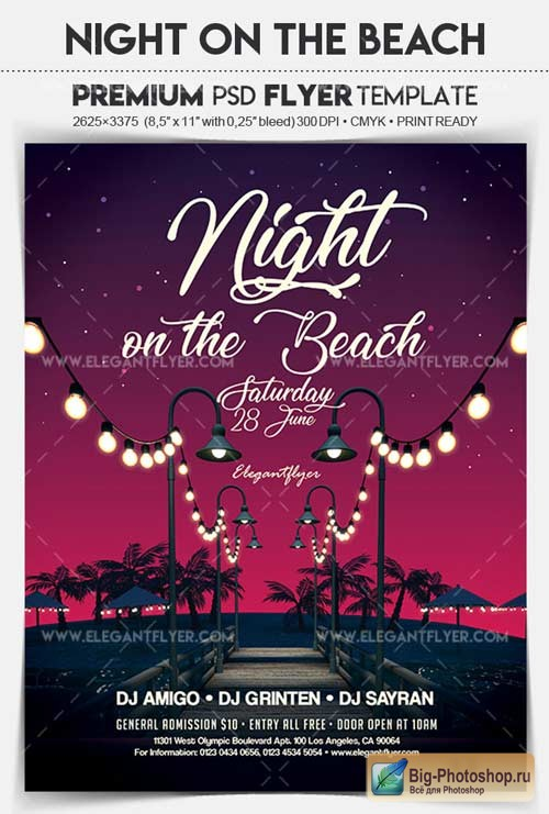 Night on the Beach V1 2018 Flyer PSD Template