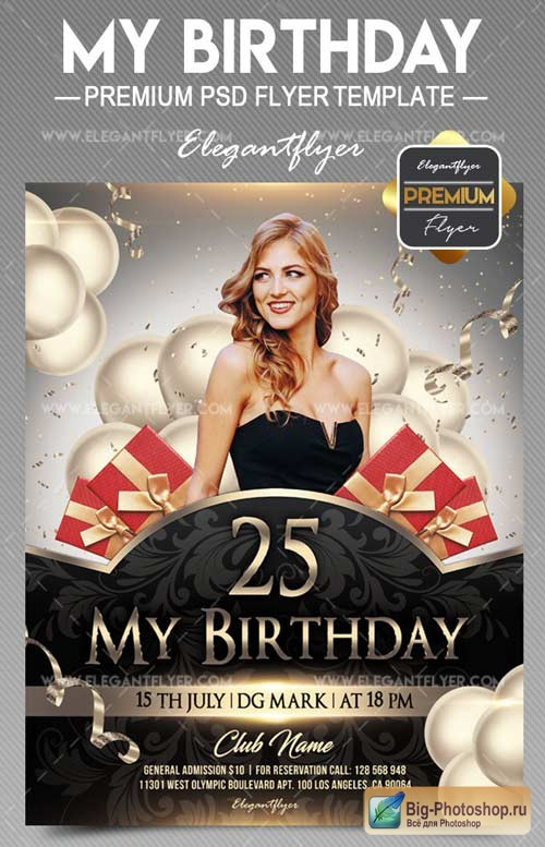 My Birthday V11 2018 Flyer PSD Template