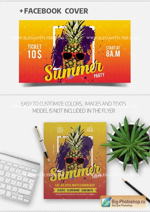 Summer Party V29 2018 Flyer PSD Template + Facebook Cover
