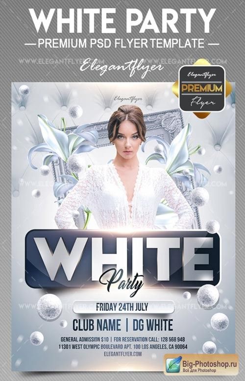 White Party V15 2018 Flyer PSD Template