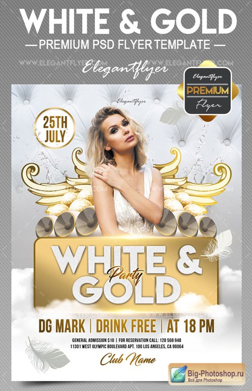 White and Gold V1 2018 Flyer PSD Template