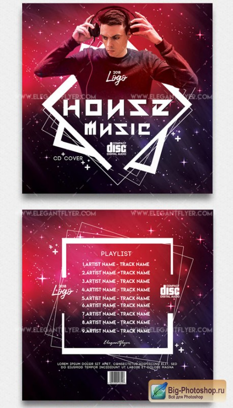 House Music V1 2018 Premium CD Cover PSD Template