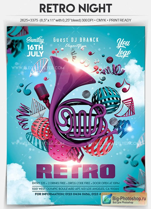 Retro Night V6 2018 Flyer PSD Template