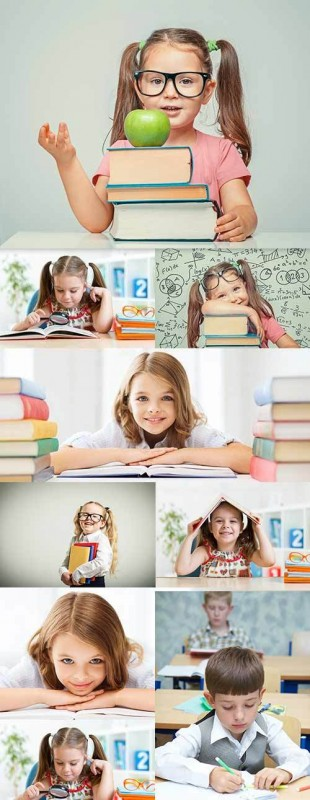 Preschool education happy children behind textbooks