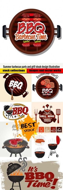 Summer barbecue party and grill steak design illustration