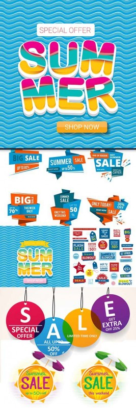 Summer special discounts and sales flat creative