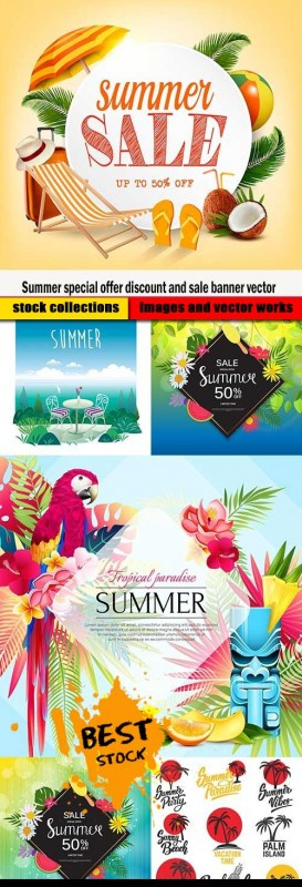 Summer special offer discount and sale banner vector
