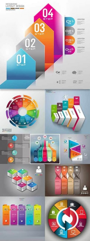 Business elements Infographics design collection 175