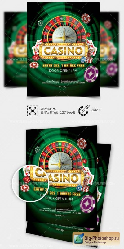 Casino V16 2018 Flyer PSD Template