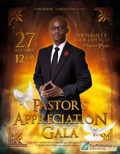 Pastor's Appreciation Gala V17 2018 Flyer PSD Template